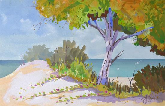 Coastal Colors, 8 x 13 inch gouache on illustration board, 2017 PJ Cook.