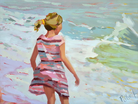 Waves & Wind, 12 x16 oil on board, PJ Cook.