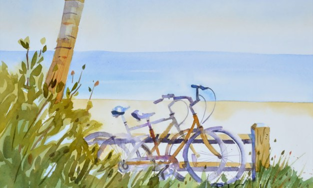 A Little R and R, Beach Bicycle Painting