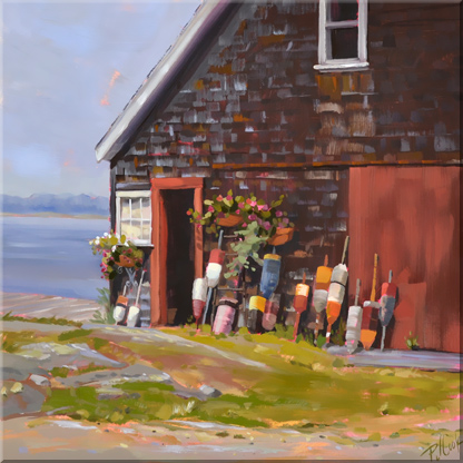 seaside Maine Barn with lobster buoy's, oil on panel, PJ Cook.