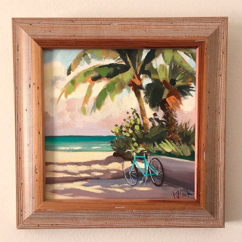 Aqua beach cruiser and palm trees featured in 6x6 oil painting.