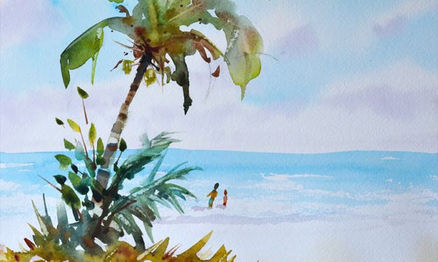 Watercolor Lesson Beach Scene and Palm Tree