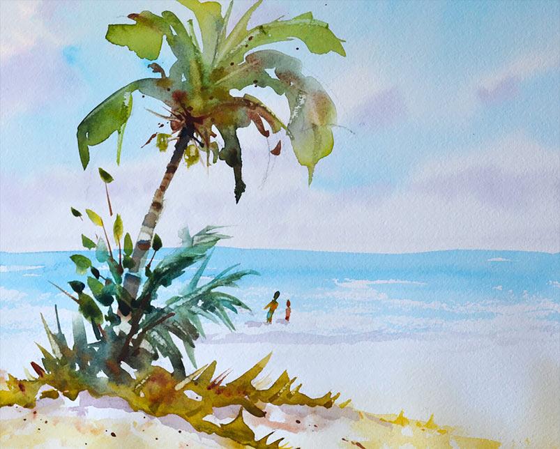 Florida beach scene with palm tree watercolor 14x10