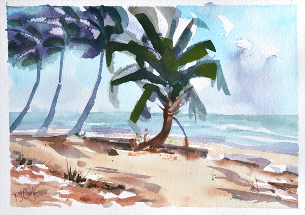 Breezy Palms at the shore, watercolor 5x7 original painting by PJ Cook.