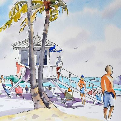 scene from Fort Lauderdale Beach lifeguard station watercolor with pen and ink.