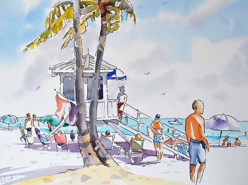 Fort Lauderdale Beach lifeguard station watercolor with pen and ink.