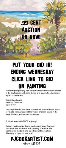 Ebay Auction for Beach Path Destination, 6x6 gouache on paper, ©2018 PJ Cook.