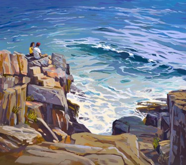 "ocean sounds from a rocky shore is a 23"" x 26"" oil painting."