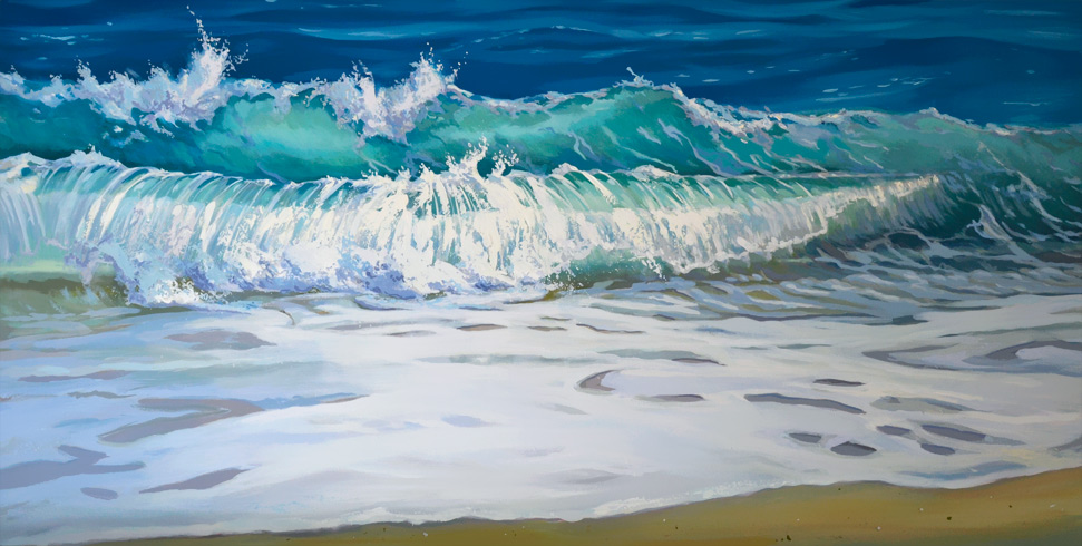 Breaking ocean wave original painting 2 feet by 4 feet oil on board
