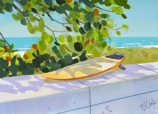 surfboard on the wall entrance to Fort Lauderdale Beach, 8x10 gouache painting, PJ Cook.