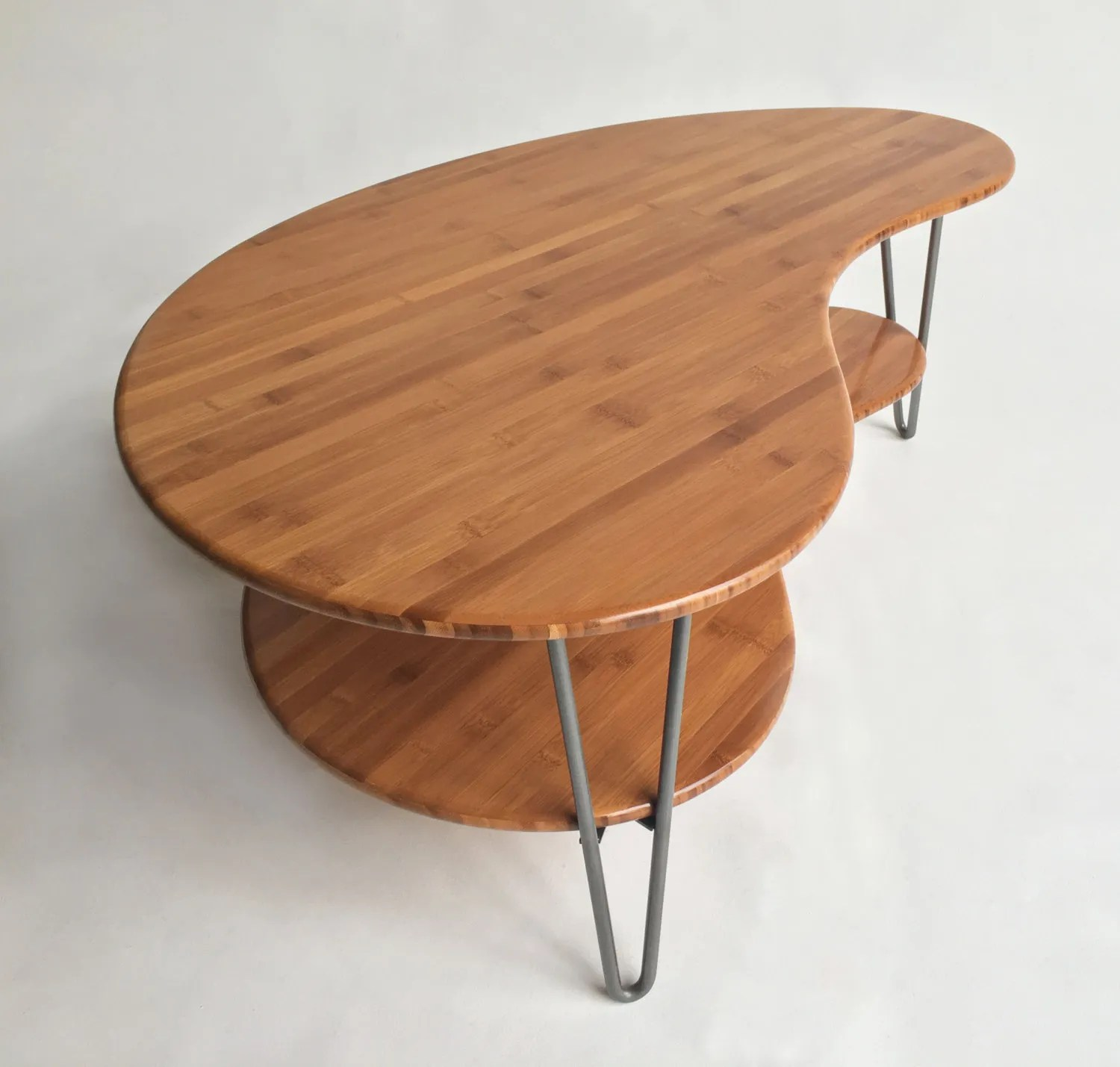 Mid Century Modern CoffeeCocktail Table Kidney Bean Shaped With - Mid century modern kidney shaped coffee table