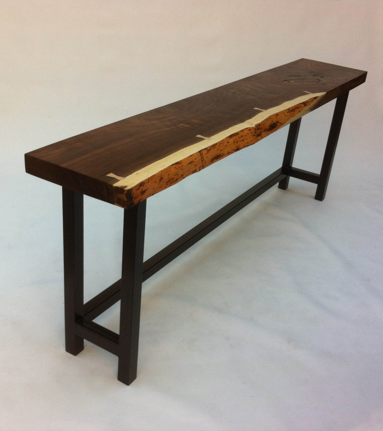 Superieur Natural Live Edge Walnut Slab Hall Table U2013 Contemporary Console In Solid  Rustic Walnut On Metal Base