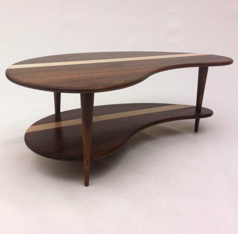 Walnut Coffee Table.Mid Century Modern Solid Walnut Coffee Table With Shelf