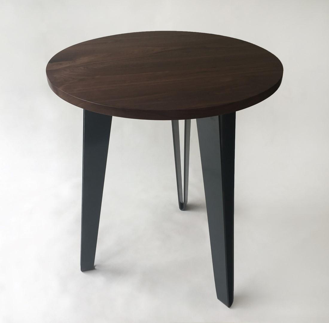 Solid Round Walnut Tall Mid Century Modern CafeBistro Table - Mid century modern bistro table