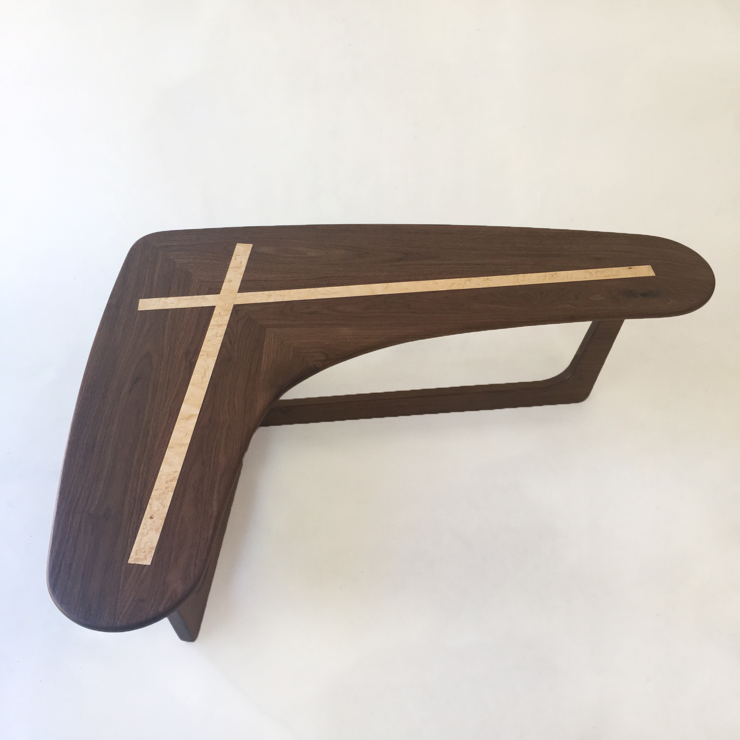 Pearsall Inspired X Boomerang Cocktail Table In Solid Walnut - Mid century modern boomerang coffee table