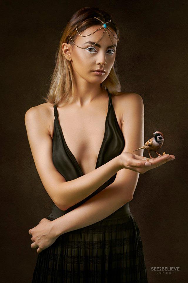 Girl witha a bird. Black Tulips Series by @JJ Jordan. Model Ramona Tapi.