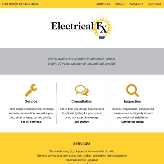 electrician's web design