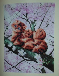 three cats partial diamond painting