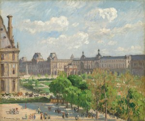 Place du Carrousel, Paris 1900 Camille Pissarro nga.gov restituted