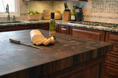 integrated cutting board butcher block island countertop