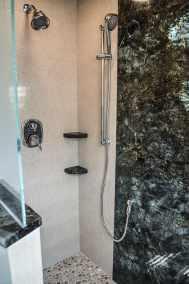 Narrow full bath, frameless shower