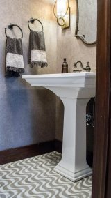 Powder room with tile floor