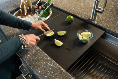 Prepare Outdoors with Graphite Cutting Board and Wash & Serve Basin