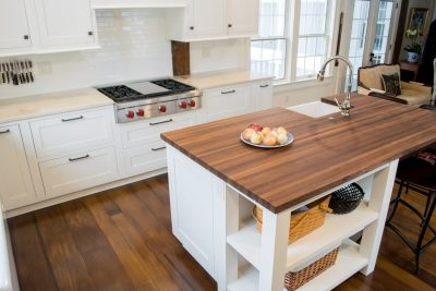 Custom walnut countertop and Wolf cooktop