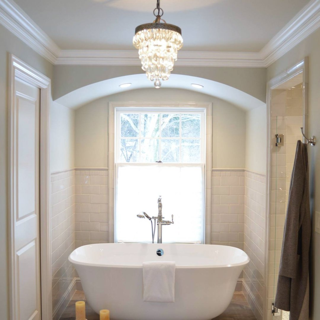 freestanding tub window view arch ceiling design