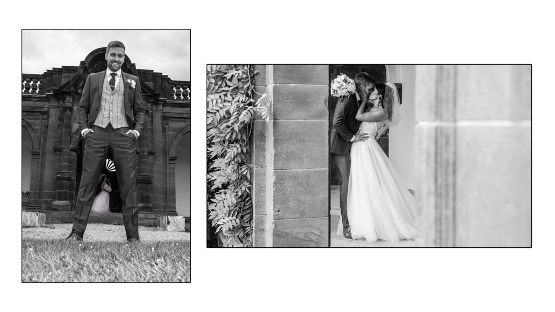 bride & groom on table at Thornton Manor, funnt wedding pictureWirral wedding photography