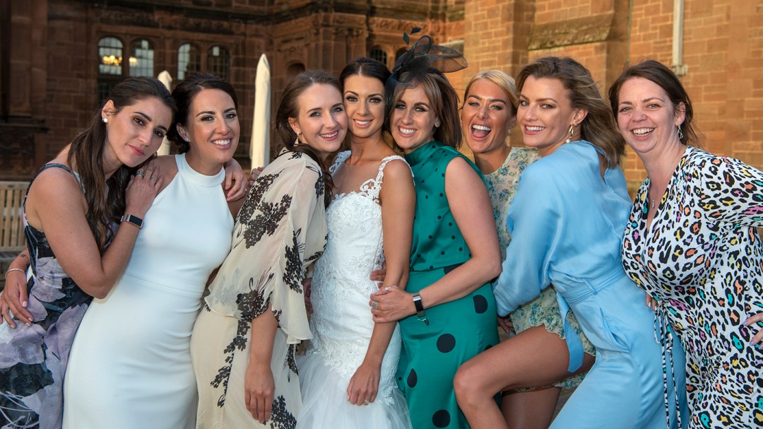 Guests by Wedding photography by Studio 900 in the gardens of Thornton Manor, Wirral. Luxury wedding venue, Best wedding Photographers