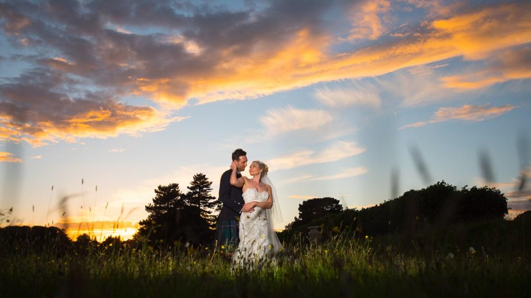 sunset at wedding