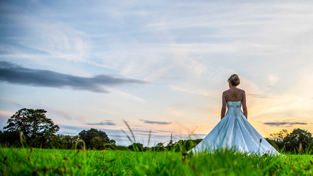 bride alone at sunset