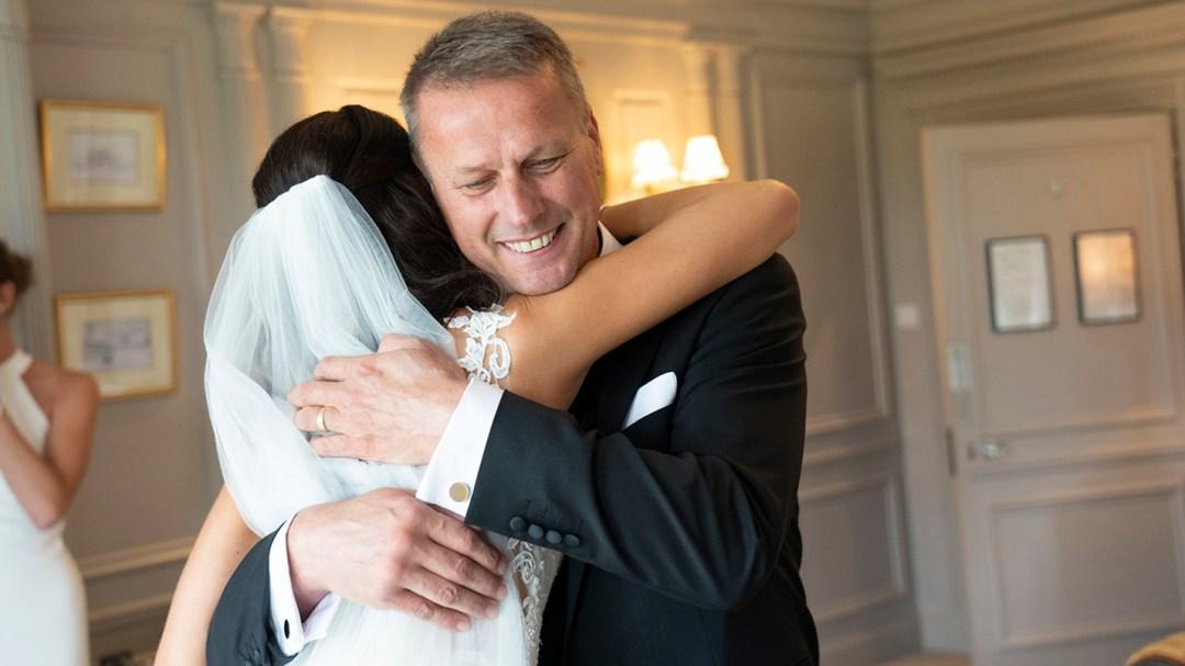 Reveal of Bride to dad Bridal prep in Lady Leverhulme Room Thornton Manor. Wirral wedding photographers Studio 900