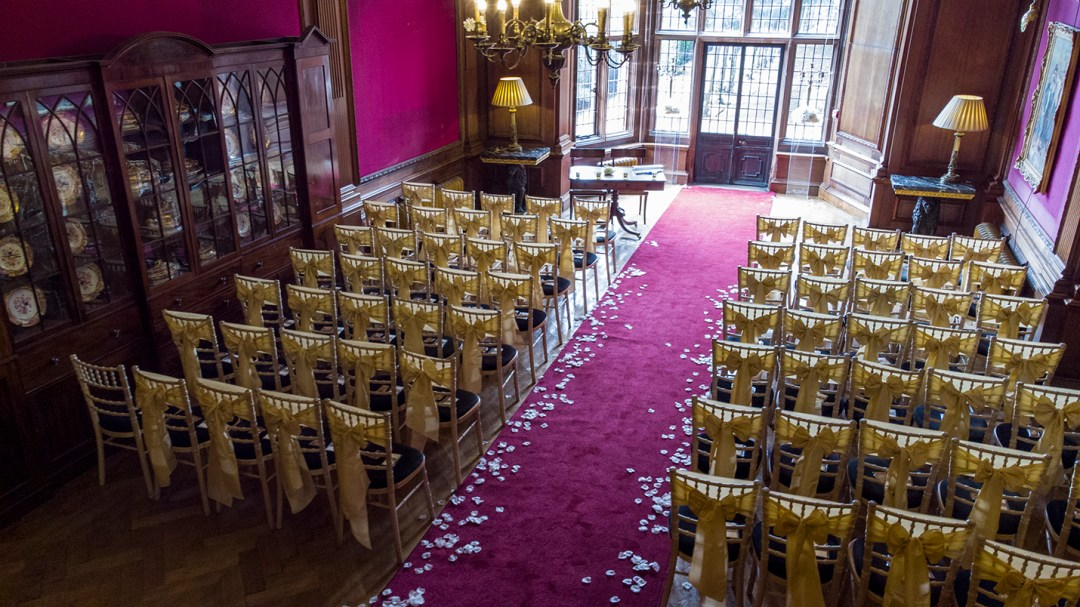 Dron image of Ceremony room Thornton Mano Wedding photography by Studio 900, Wirral