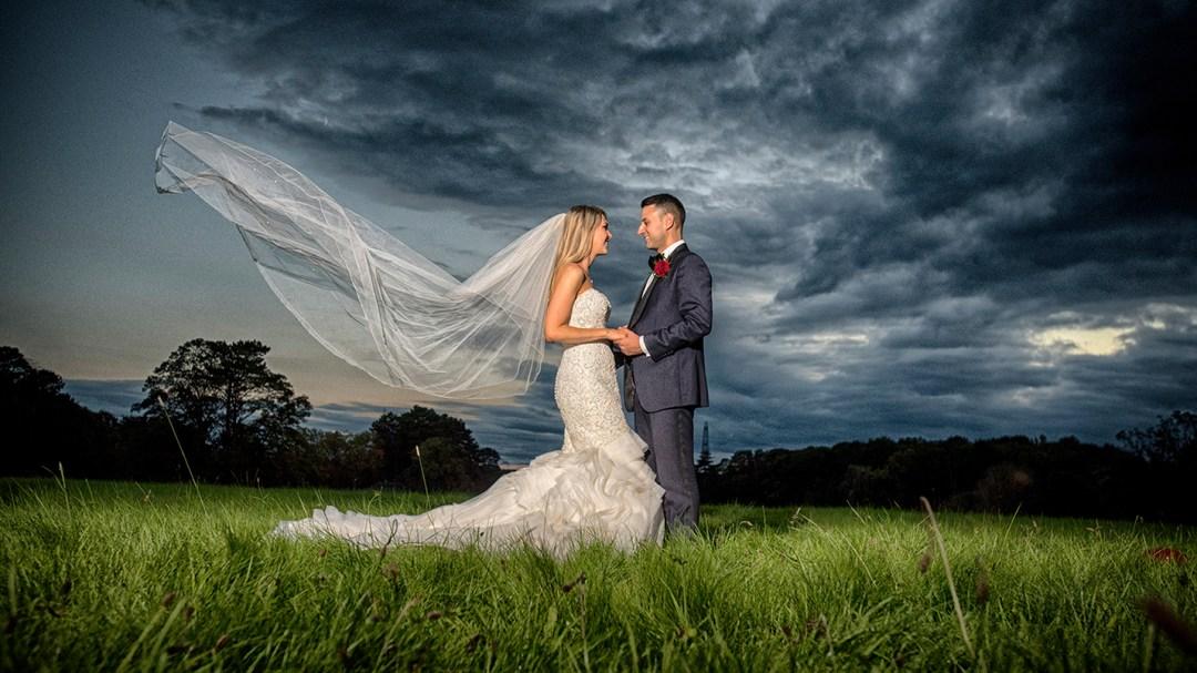 sunset bride and groom Thornton manor