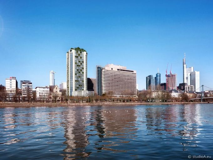3D Visualization - Buildings at the waterside in Frankfurt - studioA