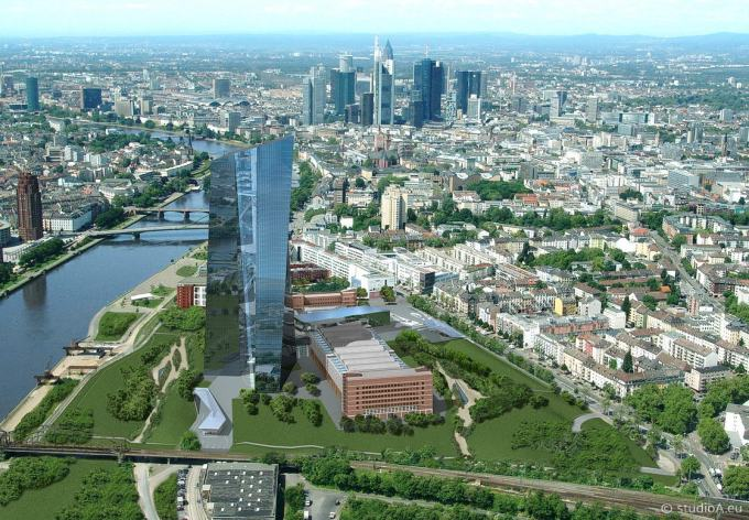 ECB Tower - by Coop Himmelblau - 3D Bird's Eye View - Frankfurt