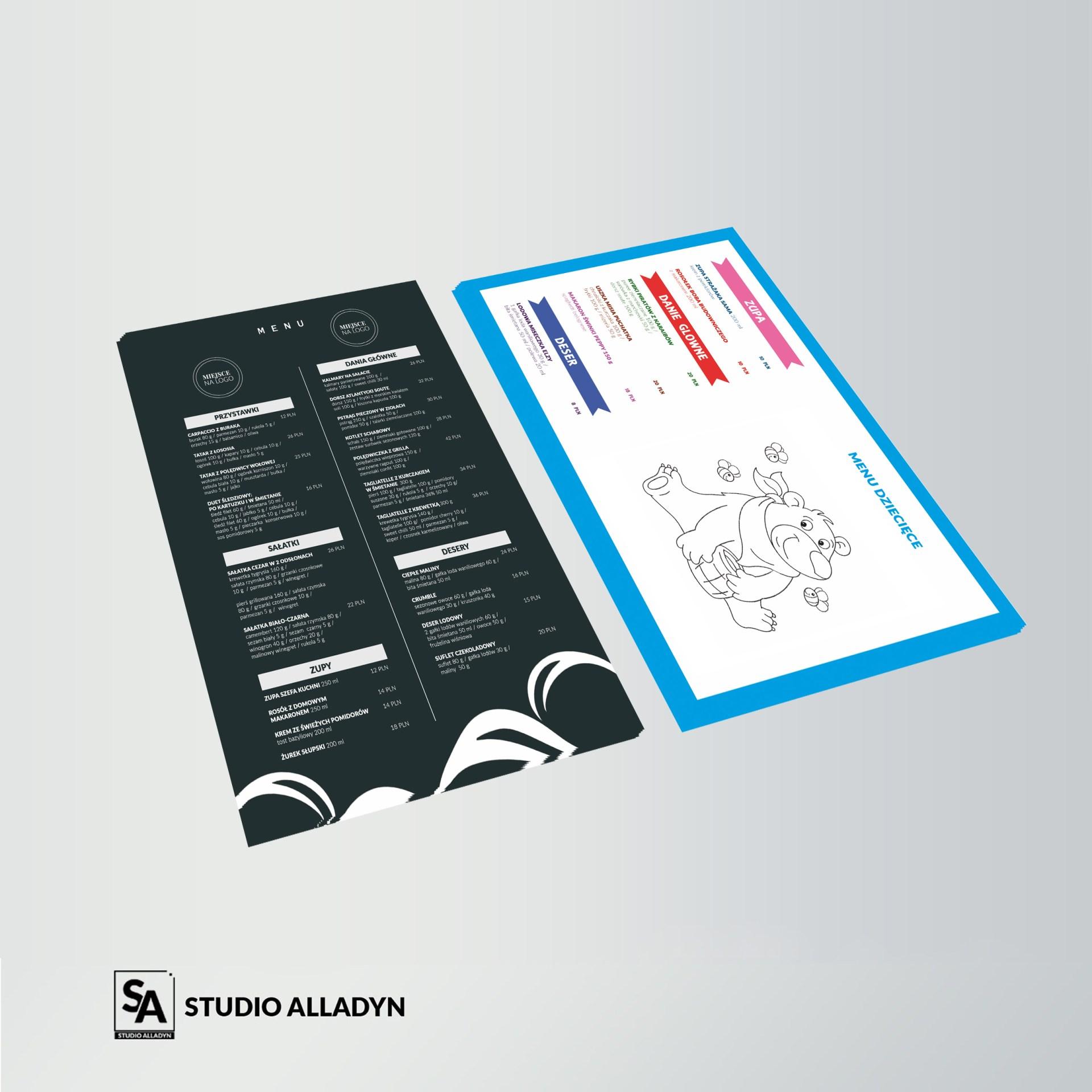 Projekt menu w formacie A4 oraz menu dziecięcego dla restauracji z Ustki.
