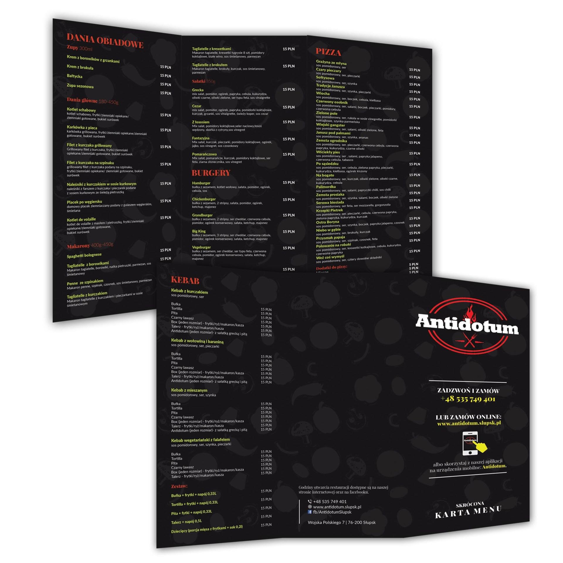 Przykładowy projekt dla restauracji w Słupsku. Składane menu.