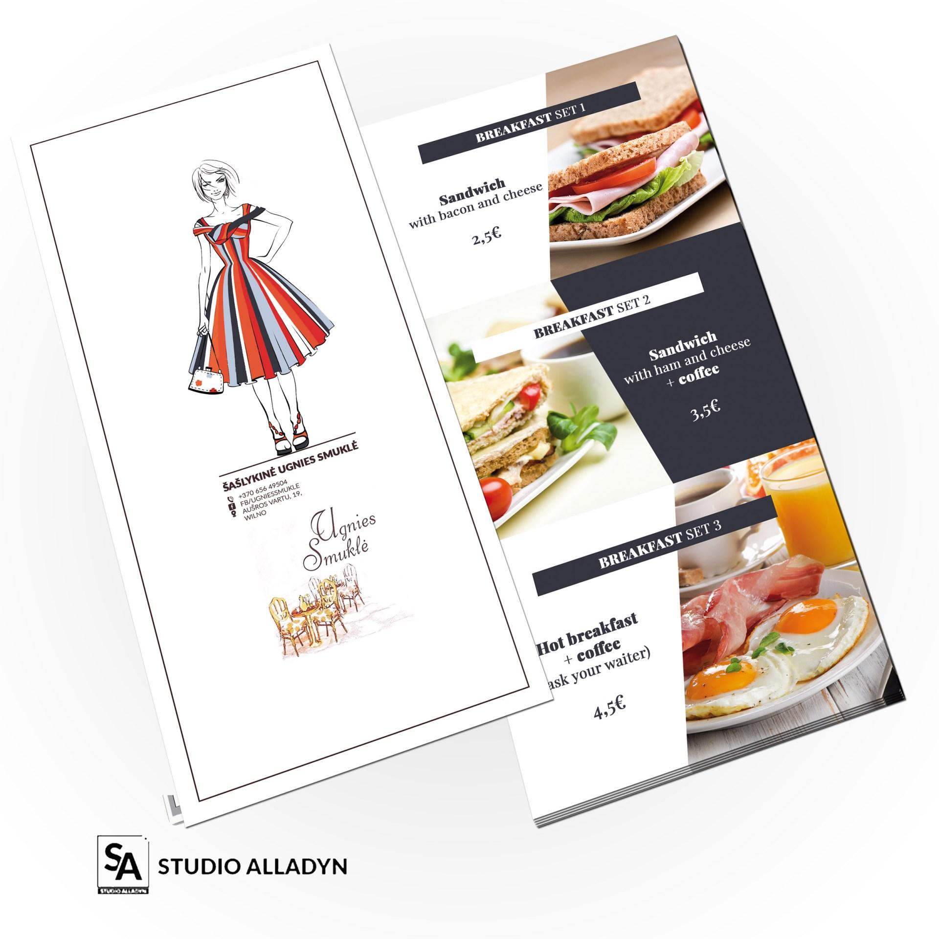 Przykładowy projekt dodatkowej karty śniadaniowej polsko-gruzińskiej restauracji w Wilnie.Wykonaliśmy w 2020 roku.