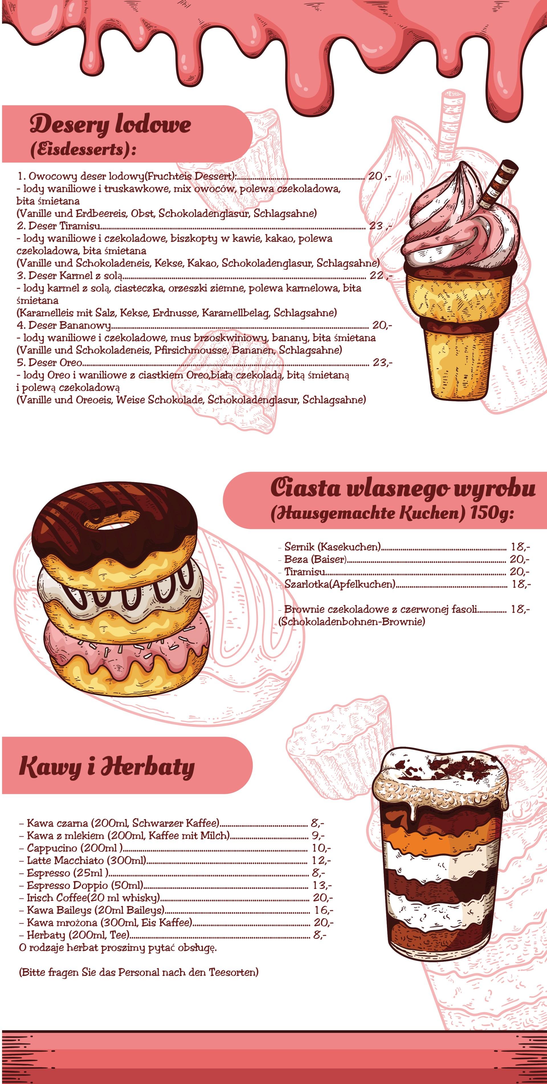 Projekt Karty Deserów dla Restauracji Widokova.