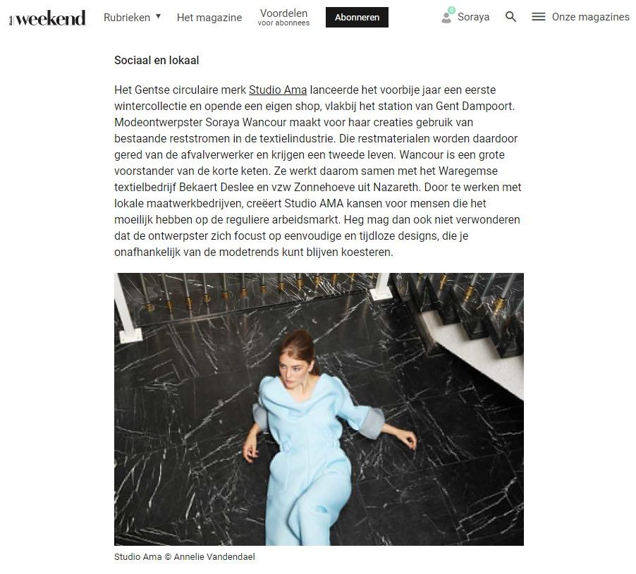 studio ama in artikel over fair fashion in weekend knack
