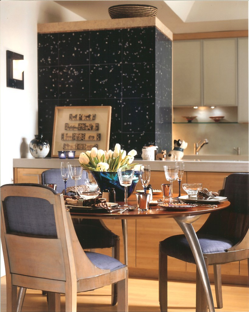 Dining Area with Bamboo Cabinets and Lapis Stone Fridge Cube