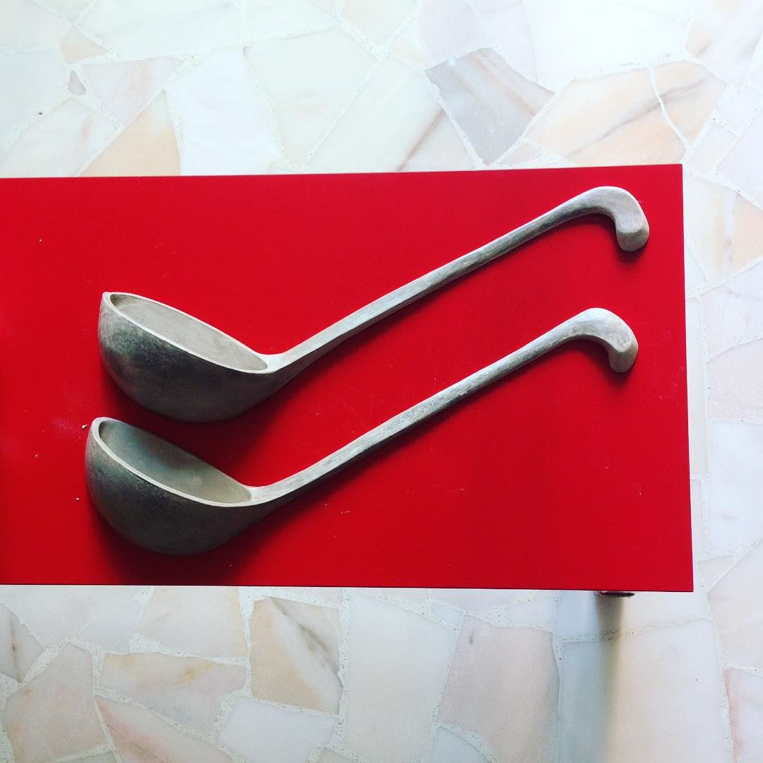 Ladles for giants!  Or, our restaurant client can still use them for their signboard :) #unfired #clay #ceramic #pottery for #restaurant opening in #Singapore #custom #handmade by #studioasobi #craftsmanship #madeinsg