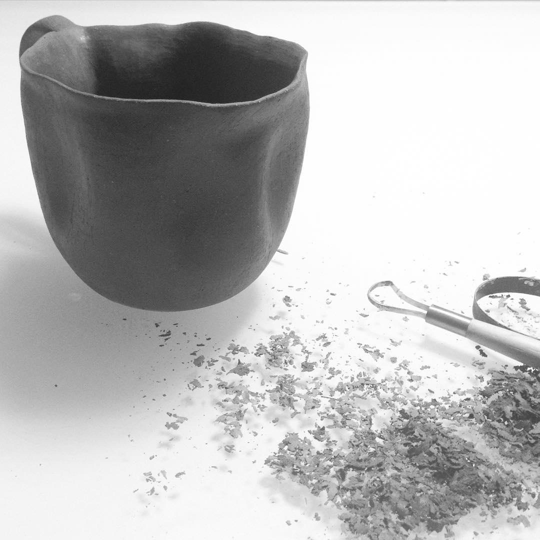 Surveying the discarded non-essentials  #trimming #pottery #ceramics #therapeutic #meditative #essentials of #life #studioasobi