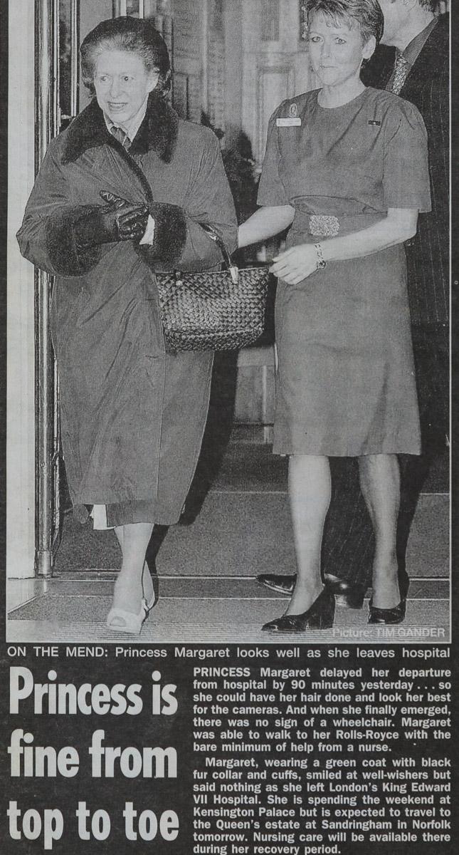 Princess Margaret Leaving Hospital