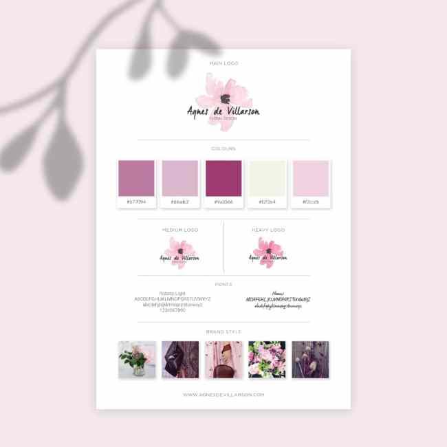 Brand board de la marque Agnès de Villarson Floral design, New York