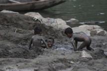 Barefoot Kids Playing Mud