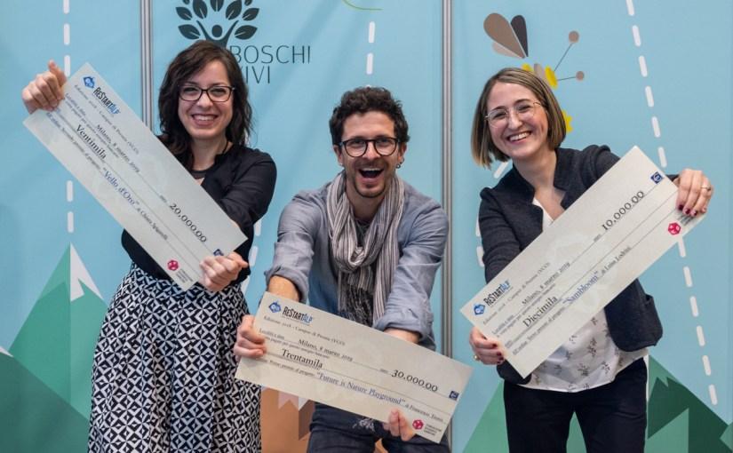 """Fondazione Garrone e Fondazione Cariplo – premiati oggi a """"Fa' la cosa giusta!"""", i tre giovani imprenditori della montagna vincitori di ReStartAlp 2018"""